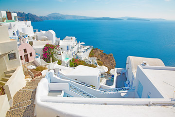 SANTORINI, GREECE - OCTOBER 5, 2015: The look from Oia to east with the Imerovigli and Scaros in the background.