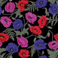 Маки. Цветочная иллюстрация. Векторный бесшовный фон. Ботанический рисунок.