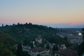 Florence, Italy-July 25, 2018: Sunset view from Piazzale Michelangelo, Florence