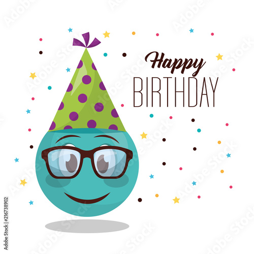 Happy Birthday Emoji With Glasses Smiling Party Hat Vector Illustration