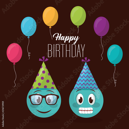 Happy Birthday Balloons Colors Party Hat Emojis Smiling Using Glasses Vector Illustration