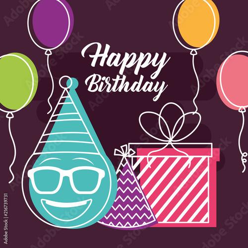 Happy Birthday Balloons Gift Box Emoji Using Glasses Party Hat Retro Style Vector Illustration