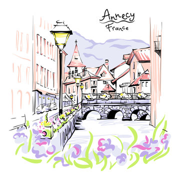 Vector colour drawing, city view of the Palais de l'Isle and Thiou river in old city of Annecy, Venice of the Alps, France.