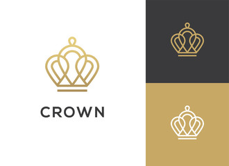 Abstract geometric linear crown icon