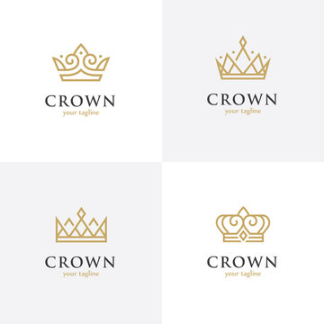 Four linear crown icons