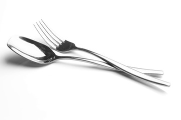 fork and spoon on white