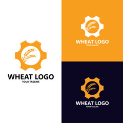 Agriculture wheat grain Logo Template vector icon design