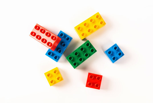 Building toy blocks isolated on white background.