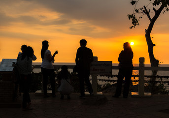 Chanthaburi: 23 Feb 2018 The shining blue light that shines at the key to the tourists at the scenic spots (Chan Beach), Thailand.