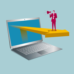 Online sales concept. A businessman is speaking, laptop and arrows. The background is blue.