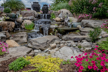 Landscape architecture with water features for summer garden Wall mural