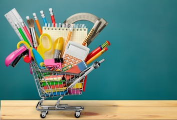Back to School Supplies in Shopping Cart