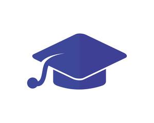 blue graduation cap academy scholar graduate university success image vector icon logo