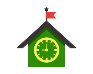 green vintage house clock time alarm image vector icon logo