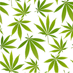 Marijuana leaves and silhouette seamless pattern.