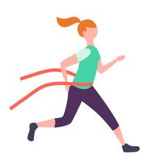 Cute redhead girl crossing finish line