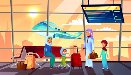 Saudi Arabian people in airport vector illustration of Muslim family with children in traditional clothes, woman in hijab and man in robe with travel bags. Departure terminal with flight schedule