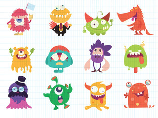Cartoon Monsters collection. Vector set of cartoon monsters . Design for print, party decoration