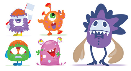 Cartoon Monsters set for Halloween. Vector set of cartoon monsters. Design for print, party decoration, t-shirt, illustration, logo, emblem or sticker