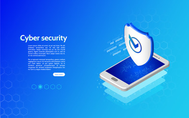 3D Cyber security technology mechanism concept. Abstract isometric personal data protection. Header for website with smartphone and protection shield. - fototapety na wymiar