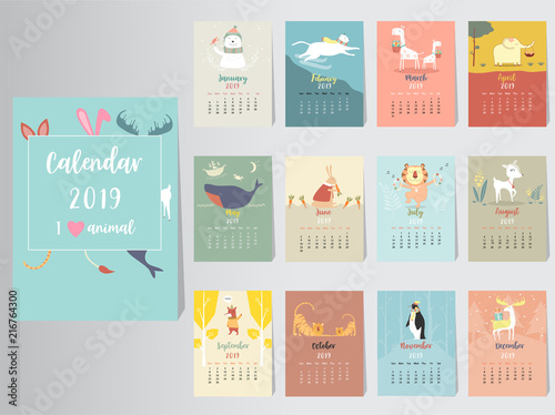 Cute Animal Calendar 2019 Design The Year Of The Pig Monthly Cards