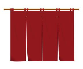 のれん(長) えんじ色|暖簾のイラスト|ベクターデータ|Goodwill illustration