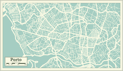 Porto Portugal City Map in Retro Style.