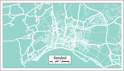 Setubal Portugal City Map in Retro Style.
