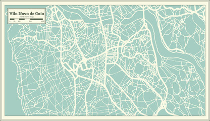 Vila Nova de Gaia Portugal City Map in Retro Style.