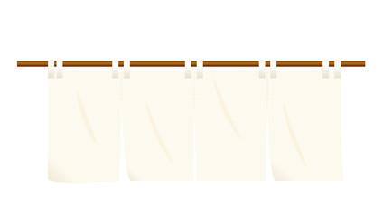 のれん オフホワイト色|暖簾のイラスト|ベクターデータ|Goodwill illustration