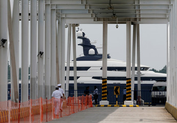 Seized luxury yacht Equanimity, belonging to fugitive Malaysian financier Low Taek Jho, is brought to Boustead Cruise Terminal in Port Klang