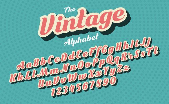 Pink vintage style latin alphabet and figures. Font design.