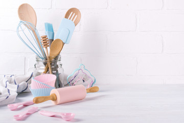 Workplace confectioner, food ingredients and accessories for making desserts , background for text or logo
