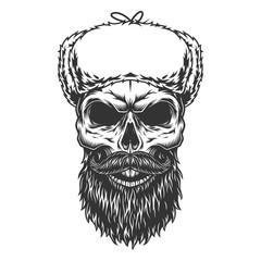 Wall Murals Owls cartoon Skull in the ushanka hat