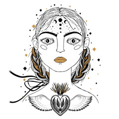 Beautiful young girl, face foreground. Vintage sketch style of drawing. Sketch for tattoo, isolated print on t-shirt. Magical, mystical, ethnic style.