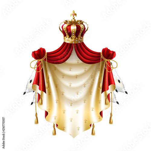 Vector Royal Baldachin With Gold Crown Jewelry And Fringe Fur Isolated On White Background