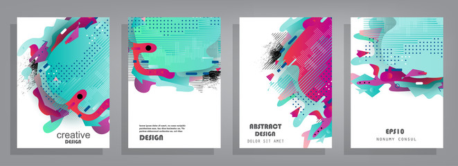 Covers templates set with graphic geometric elements. Applicable for brochures, posters, covers and banners. Vector illustrations. Wall mural