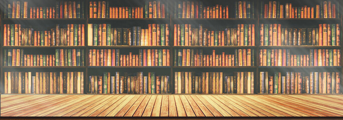 panorama blurred bookshelf Many old books in a book shop or library. Wall mural