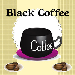 Isolated black coffee cup and coffee beans. Black coffee theme