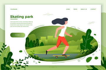 Vector illustration - sporty girl skating in park. City, park, trees and hills on green background. Banner, site, poster template with place for your text.