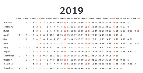 2019 Calendar linear design. Vector graphics. Stationery template in simple style with months. Portrait Orientation. Yearly calendar organizer.