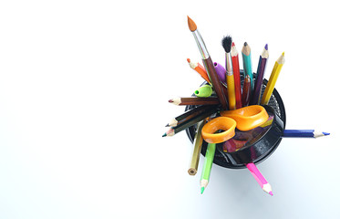 School Stationary in Basket on White Copy Space