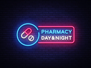 Pharmacy neon signboard vector. Medical neon glowing symbol, Light Banner, neon icon, design element. Vector illustration