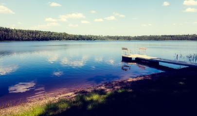 Summer landscape - lake shore in sunny day