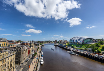 Looking down the Tyne River to the Quayside in Newcastle and Gateshead