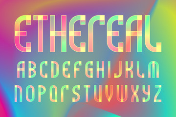 Ethereal letters alphabet. Colorful translucent font. Isolated english alphabet on iridescent background.