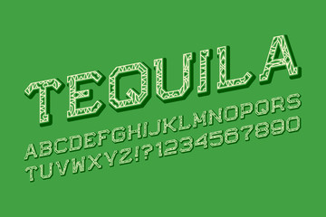 Tequila letters and numbers in carnival style. Isolated english alphabet.