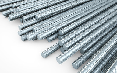 Steel reinforcement rebars on white background, construction industry. 3d rendering