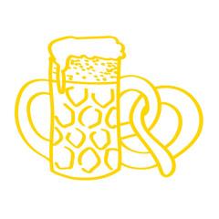 Handgezeichnetes Bier mit Brezel in gelb