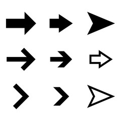 Arrows set. Flat black simple signs